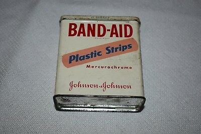 Band Aid Plastic Strips Vintage Container Tin Johnson & Johnson
