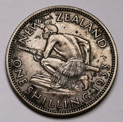 1933 New Zealand NZ Silver Shilling Coin George V KM# 3