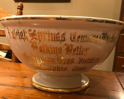 Vtg 19th cent Raleigh Springs Tenn Whiskey Goodman Bros Distillery Memphis Bowl