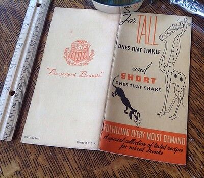 1935 COCKTAIL BOOKLET Mixed Drinks UNITED DISTILLER Tall Ones Short Ones SCARCE