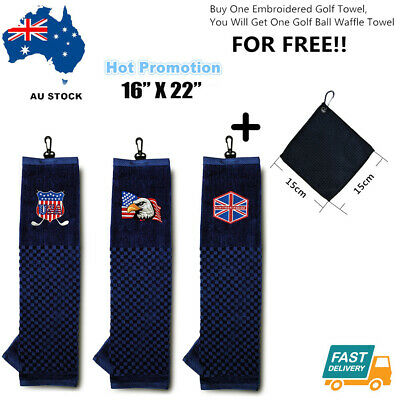 Cotton Towel 107cm X 35cm Hook to Bag With Free Golf Ball Wipe Golf Club Outdoor