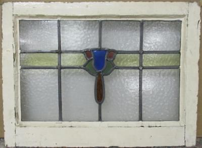 "OLD ENGLISH LEADED STAINED GLASS WINDOW Abstract Floral Band 22"" x 16.25"""