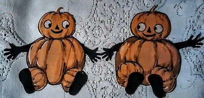 Vintage Halloween Pumpkin Man JOL Crepe Paper Cut Outs Early 1900's Googly Eyes