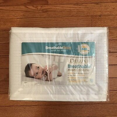 BreathableBaby Deluxe Breathable Mesh Crib Liner, White