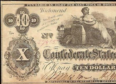 1862 $10 Month Error Confederate States Currency Civil War Note Money T-46 Vf