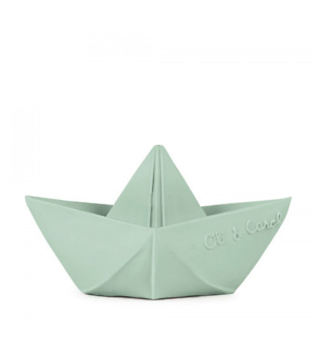 Oli & Carol - Origami Boat - Mint - Natural Rubber Toy - Sensory play, teething