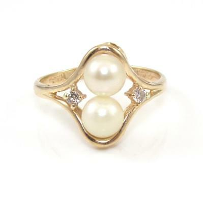 14K Yellow Gold Natural Diamond Pearl Ring Size 7.5
