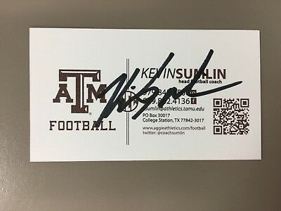 Kevin Sumlin Signed Texas A & M Aggies Autograph Auto autographed business card