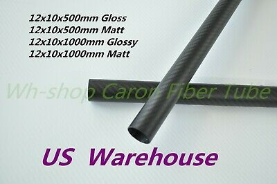 12mm OD X 10mm ID  Carbon Fiber Tube 3K/Tubing Suit for RC Plane 12*10 H