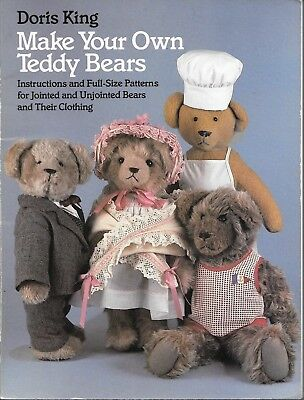 Make your own teddy bears full size pattern jointed un-jointed clothing vintage