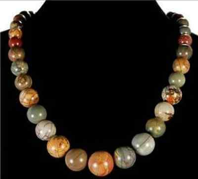 "Natural 6-14mm Multicolor Picasso Jasper Beads Necklace 17.5"" AAA"