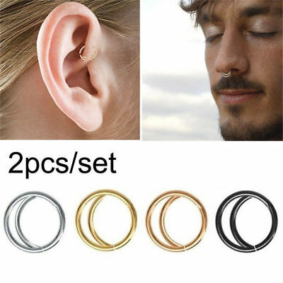 2pc Stainless Steel Moon Nose Ring Nostril Hoop Snug Septum Piercing Jewelry