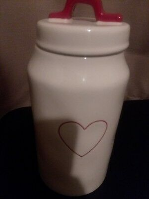 Rae Dunn Heart Canister Valentines Day Red 2019 New Vhtf In Hand Medium Heart