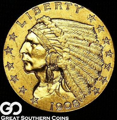 1908 Quarter Eagle, $2.5 Gold Indian, Nice Choice BU++ First Year Issue!