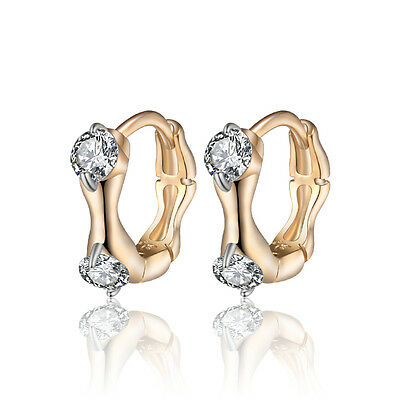 18 k Gold Plated Jewellery Small Baby Girls Hoops Two Zircon First Earrings E991