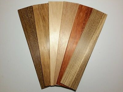 Variety Pk of 6 Beautiful Hand Sanded Thin Wooden Bookmarks #2 Zebrawood Paduak+