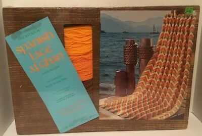 """Vintage Badger Mills Spanish Lace Afghan Throw Easy To Crochet 40"""" X 64"""" Nos"""