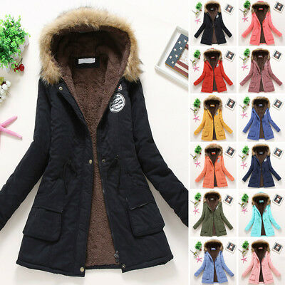 Womens Parka Jacket Fur Korean Casual Sleeve Warm Winter Thick Hooded Long Coat