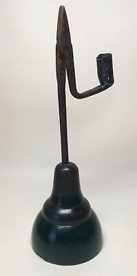 Very Rare Old Iron & Wooden Rushlight Rushnip Holder. Candlestick