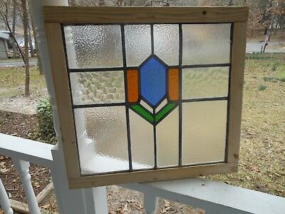 LA-99C Lovely Older English Leaded Stained Glass Window Reframed