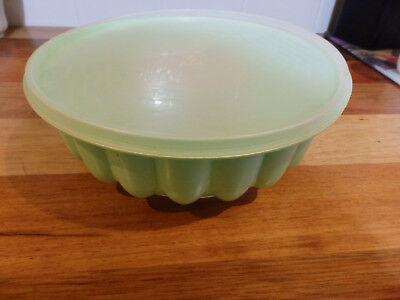 RetroTupperware Jelly Mould  Green base, clear lid . Three piece.