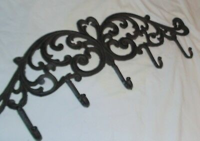"Antique Cast Iron Wall Hat Coat Rack Victorian  24"" x 9"""