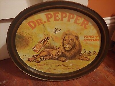 "1979 DR PEPPER 14.5"" Oval Tin Tray Lion King of Beverages Vim Vigor Vitality Fun"