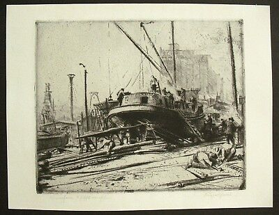 Large Vtg. Original Early 20th Century European Etching -- Boatyard / Shipyard