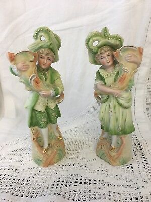 Pair of Antique Porcelain Figurines Victorian Girl And Boy (note Slight Repair)