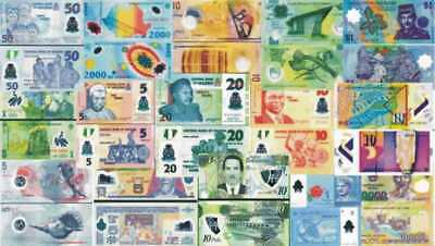 LOTTO POLYMER - Lotto 15 banconote differenti in Polymer FDS - UNC
