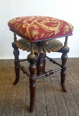 """Adjustable Victorian Patented Piano Stool """"The Rondlet"""" By Henry Brooks & Co"""