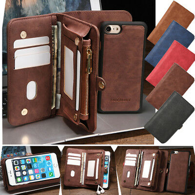 Leather Removable Wallet Magnetic Flip Card Slot Case Cover Fr iPhone 6 6S 7 8 X