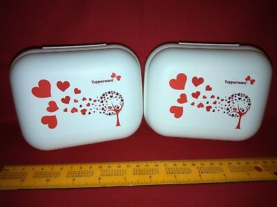 Tupperware Clamshell / Oyster Containers - White With Red Love Hearts - set of 2