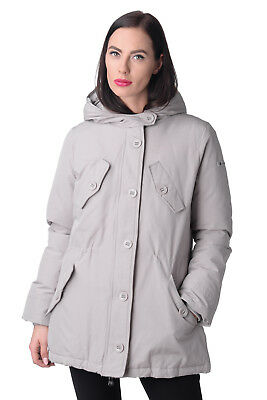RETRO Parka Style Jacket Size XL Grey Padded Double Cuffs Drawcord Waist Hooded
