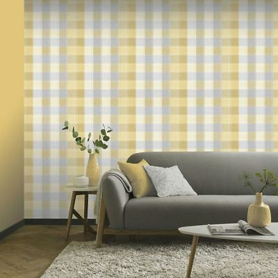 Country Check Wallpaper Rolls Ochre - Arthouse 902807