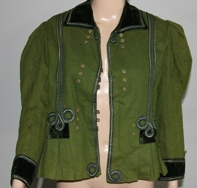 victorian antique edwardian 19c 1800s coat dress fitted wool jacket green fine