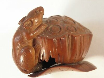 Japanese Or Chinese Carved Nut Lotus Pod And Rat