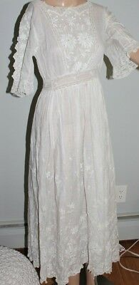 vintage white lace cotton tea party garden dress victorian edwardian 19c 1800s