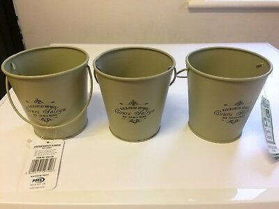 Set of 3 Metal Small Plant Pots Herbs Planter Vintage Garden Brushes Pot Storage