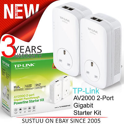 TP-Link AV2000 2-Port Gigabit Powerline Starter-TL-PA9020P KIT│For Home Plug AV2