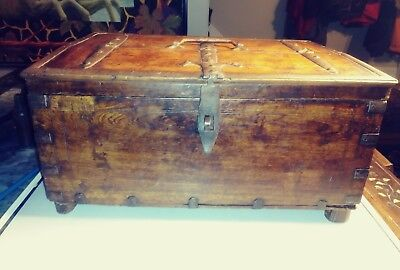 17th / 18th Century wooden carved Bible/Document box