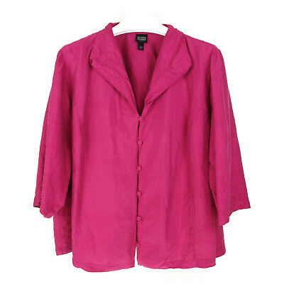 Eileen Fisher 2X Silk Blouse Top Womens Plus Size Pink Crinkle Button Valentines