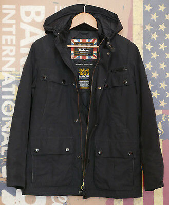 £299 Mens Barbour Lockhill quilted waterproof hooded black parka jacket S Small