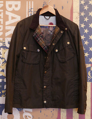 Rare £249 Mens Barbour Steve McQueen 9665 olive wax jacket size M Medium 36 38