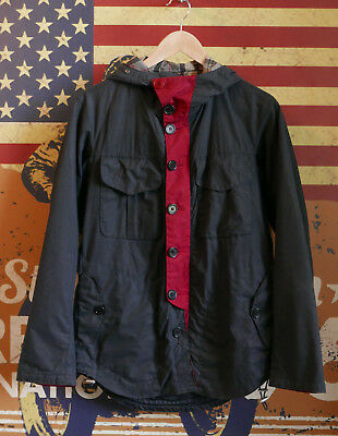 £320 rare Mens Barbour Tokito Bi-Col navy black hooded wax jacket Small XS 34