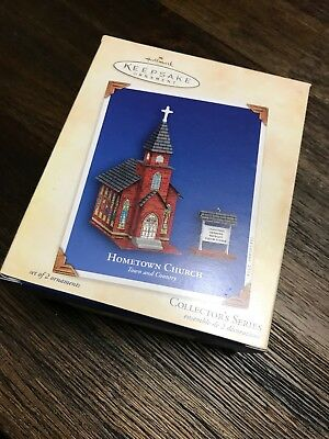 Hallmark 2004 HOMETOWN CHURCH Town and Country Pressed Tin Christmas Ornament