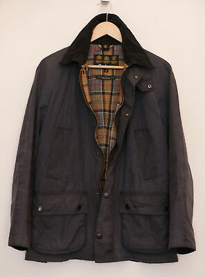 £199 Mens Barbour Ashby navy wax jacket size S Small 36