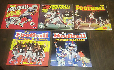 Lot of (5) 1981 1982 1983 1986 1987 Topps Football Card Sticker Albums