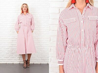 Vintage 70s 80s White Shirt Dress Retro Bold Striped Print Slouchy Shirtdress