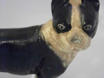 """Antique Vintage Painted Cast Iron Boston Terrier Bull Dog Door Stop   8"""" Tall"""